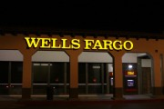 Wells fargo sign at night
