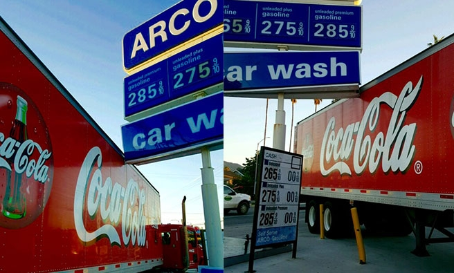 Newly installed Arco Gas Station sign got hit by Coca cola Truck